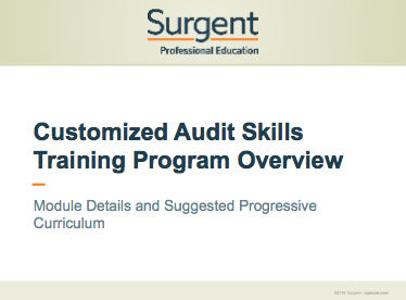 Surgent Audit Skills Training Program Overview 2016